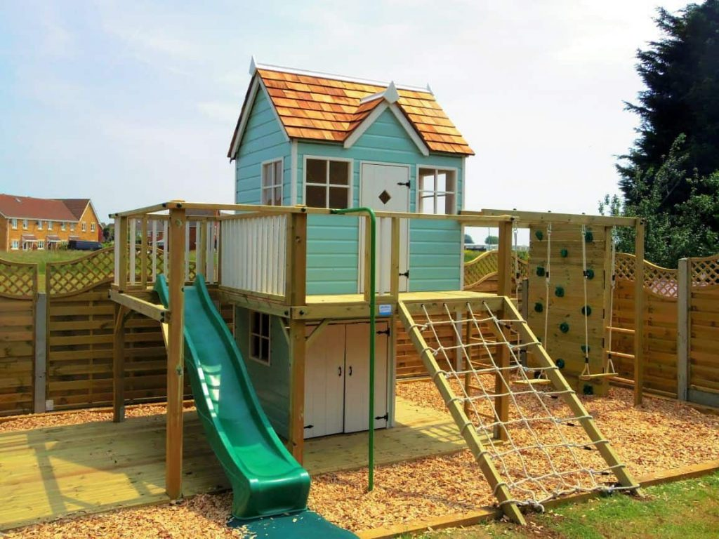 Otter Cottage wooden playhouse climbing frame